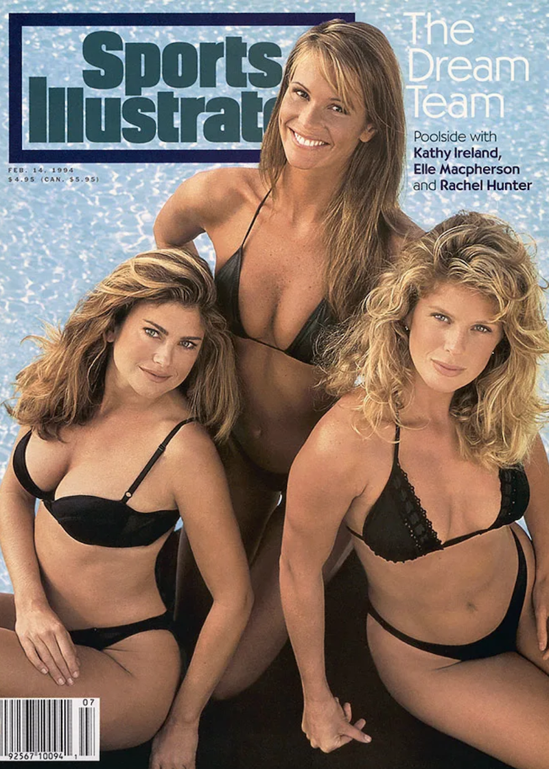 """Kathy Ireland, Elle Macpherson, and Rachel Hunter on the cover of 'Sports Illustrated"""" in 1994"""