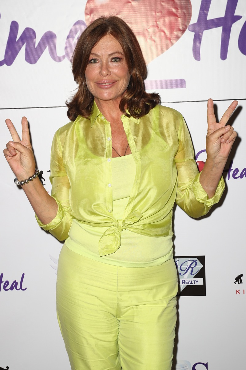 Kelly LeBrock lime green outfir
