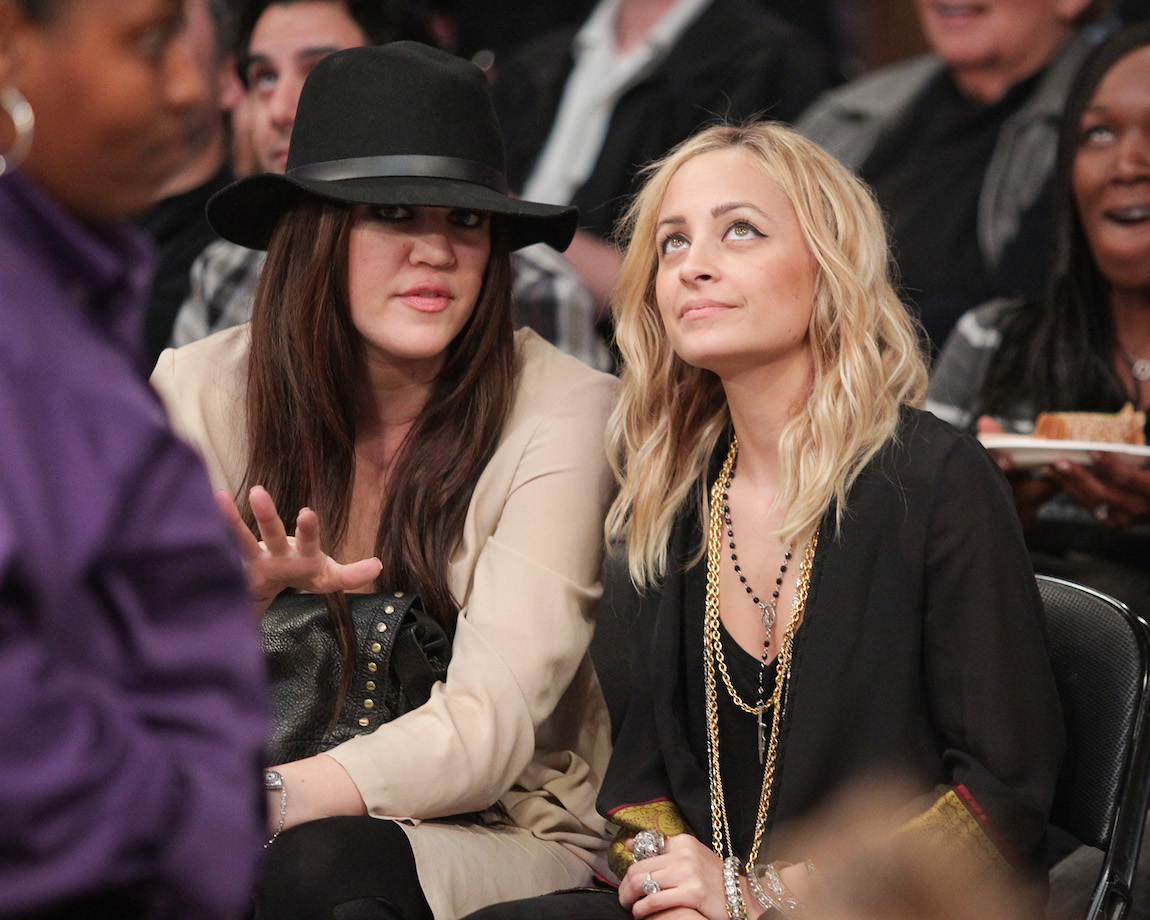Khloé Kardashian and Nicole Richie at a Los Angeles Lakers games in 2011