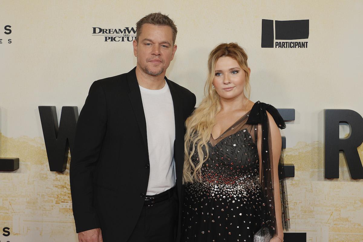 "Matt Damon and Abigail Breslin at the New York premiere of ""Stillwater"" on July 26, 2021"