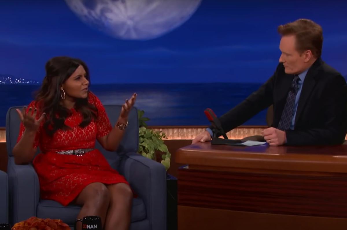"""Mindy Kaling on """"Conan"""" in 2012"""