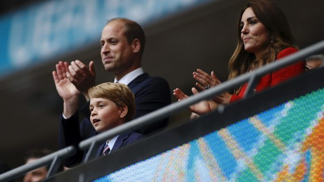 Prince George, Prince William, and Kate Middleton at the Euro 2020 final in July 2021