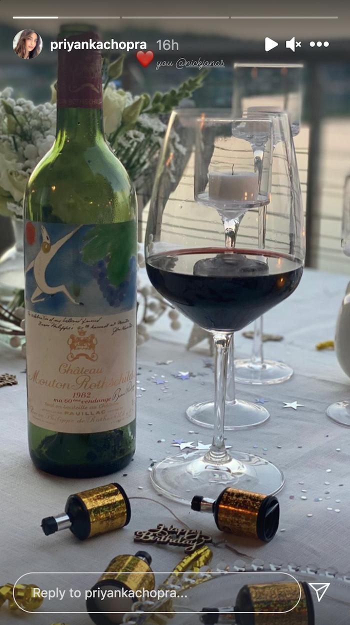 A photo of a bottle of wine posted to Priyanka Chopra's Instagram Story