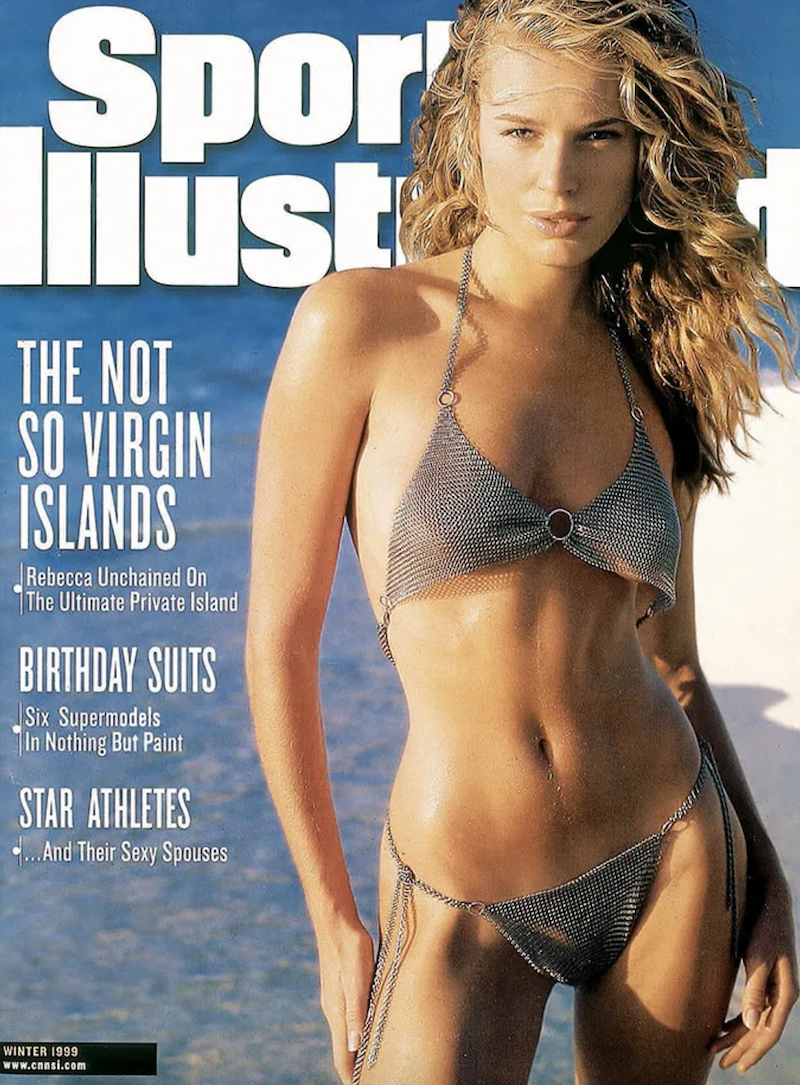 """Rebecca Romijn on the cover of """"Sports Illustrated"""" in 1999"""
