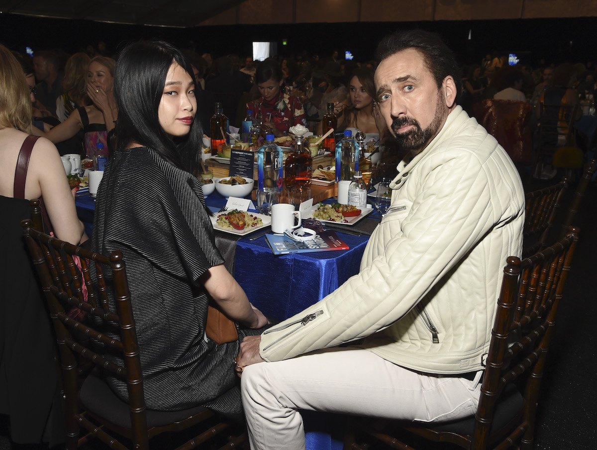 Riko Shibata and Nicolas Cage at the Film Independent Spirit Awards in February 2020
