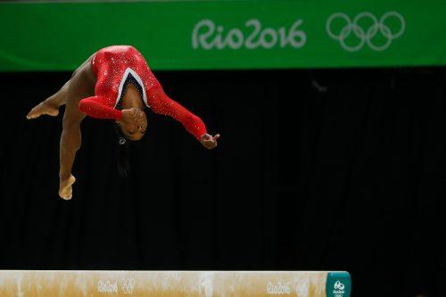 Simone Biles on the balance beam at the 2016 Rio Olympics
