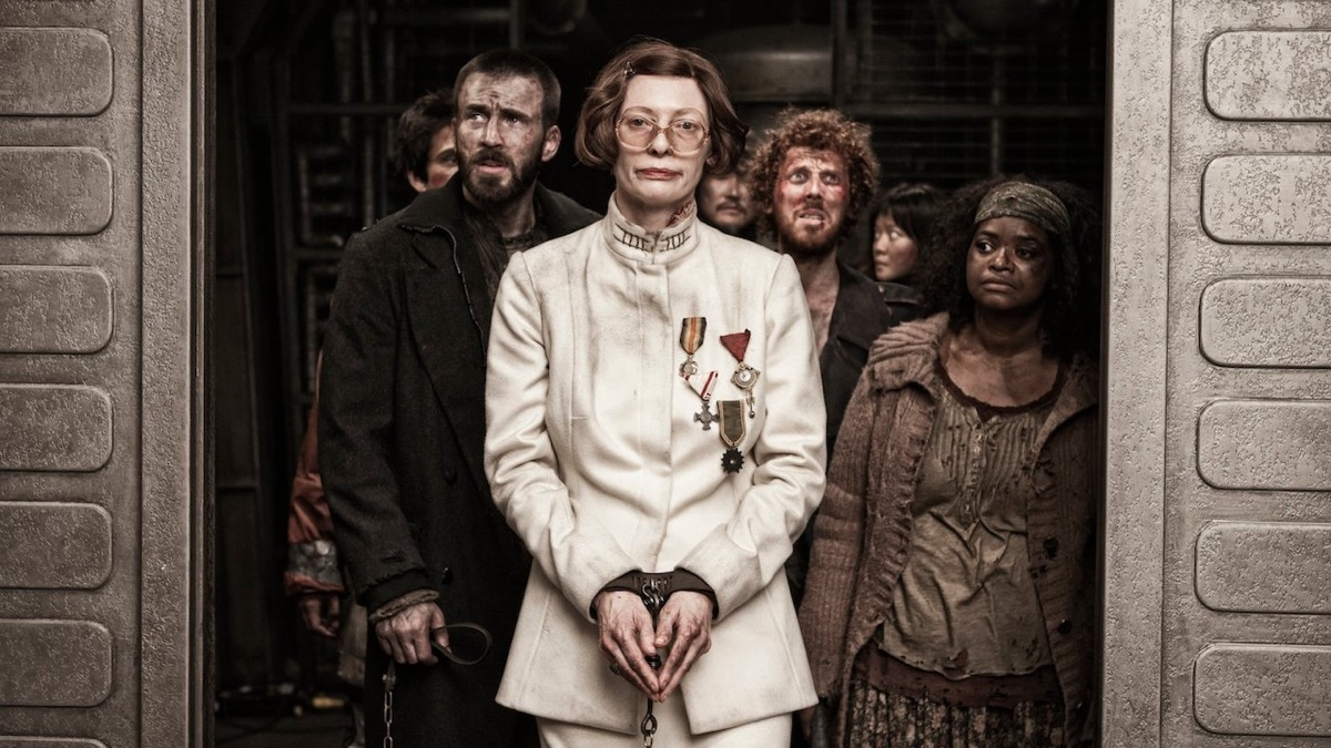 Chris Evans, Tilda Swinton, and Octavia Spencer in Snowpiercer