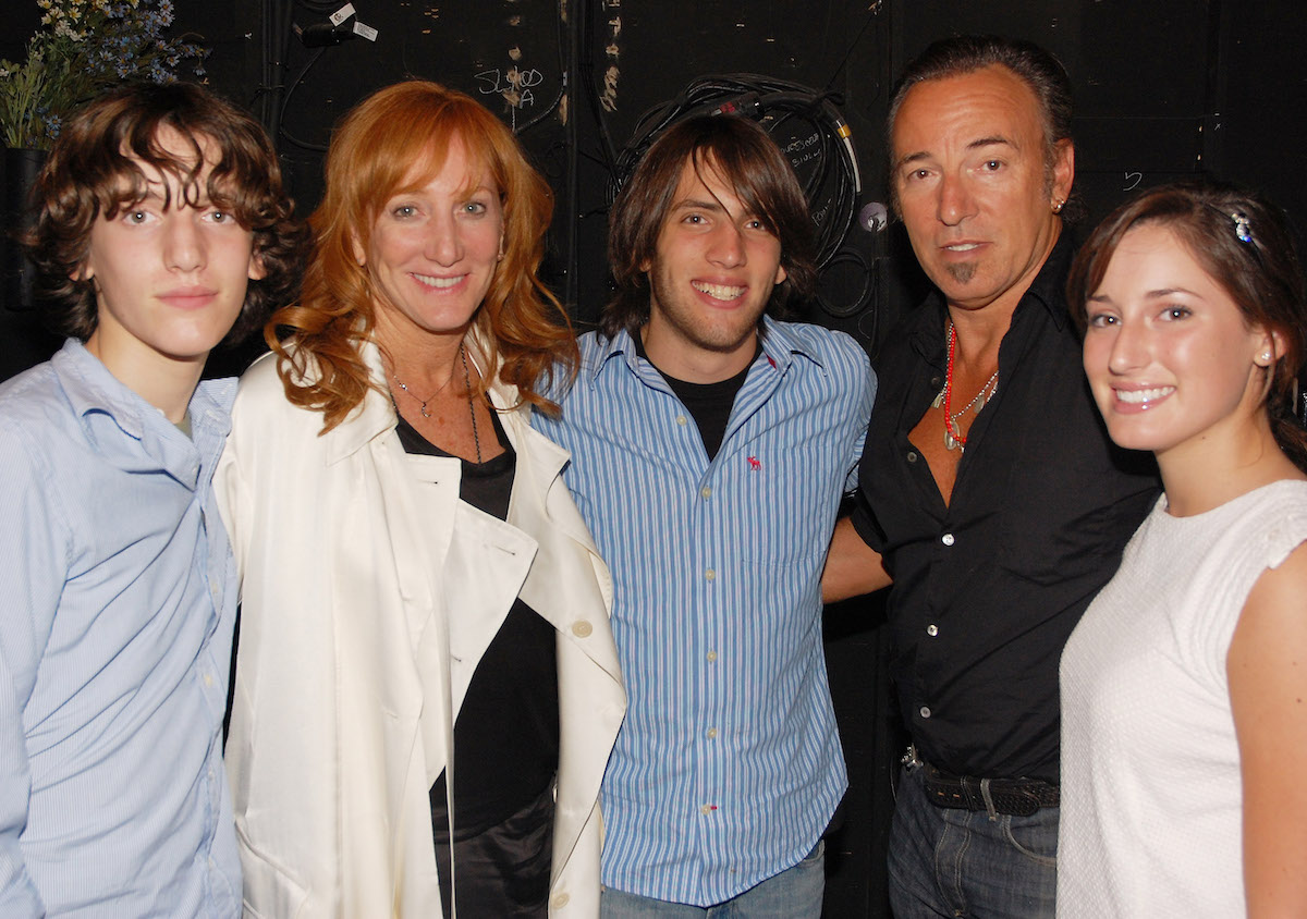 """Patti Scialfa, Bruce Springsteen, and their three children at backstage at the Broadway play """"Spring Awakening"""" in 2008"""