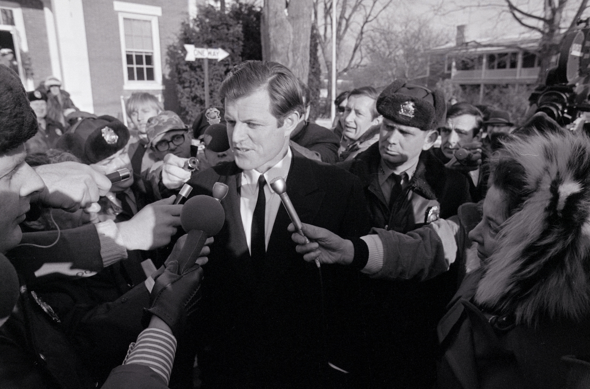 Ted Kennedy speaking to reporters on January 5, 1970