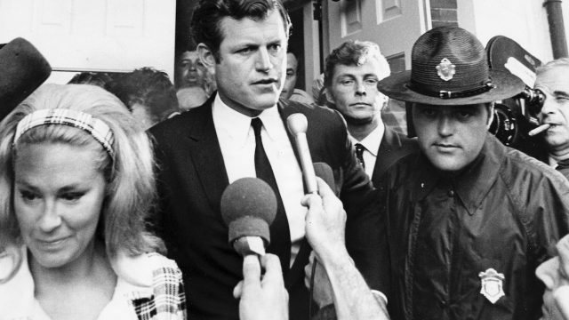 Ted Kennedy leaving Dukes County Courthouse on July 25, 1969