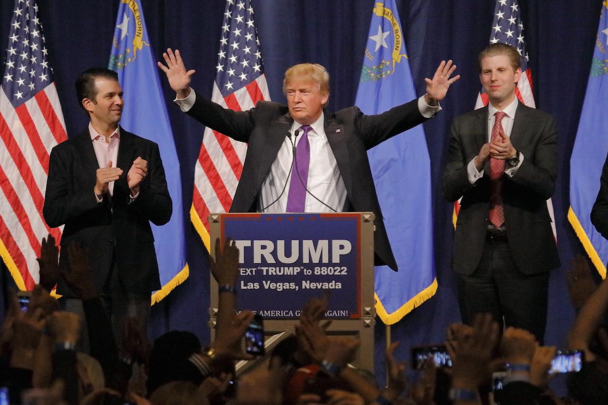 Donald Trump Jr., Donald Trump, and Eric Trump in Nevada in 2016