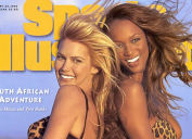 """Valeria Mazza and Tyra Banks on the cover of """"Sports Illustrated"""" in 1996"""