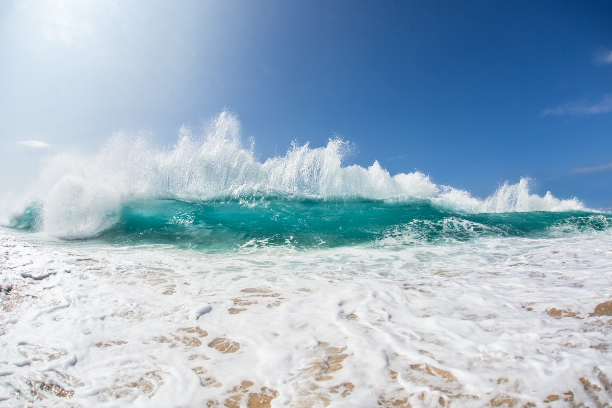 Wave breaking at beach