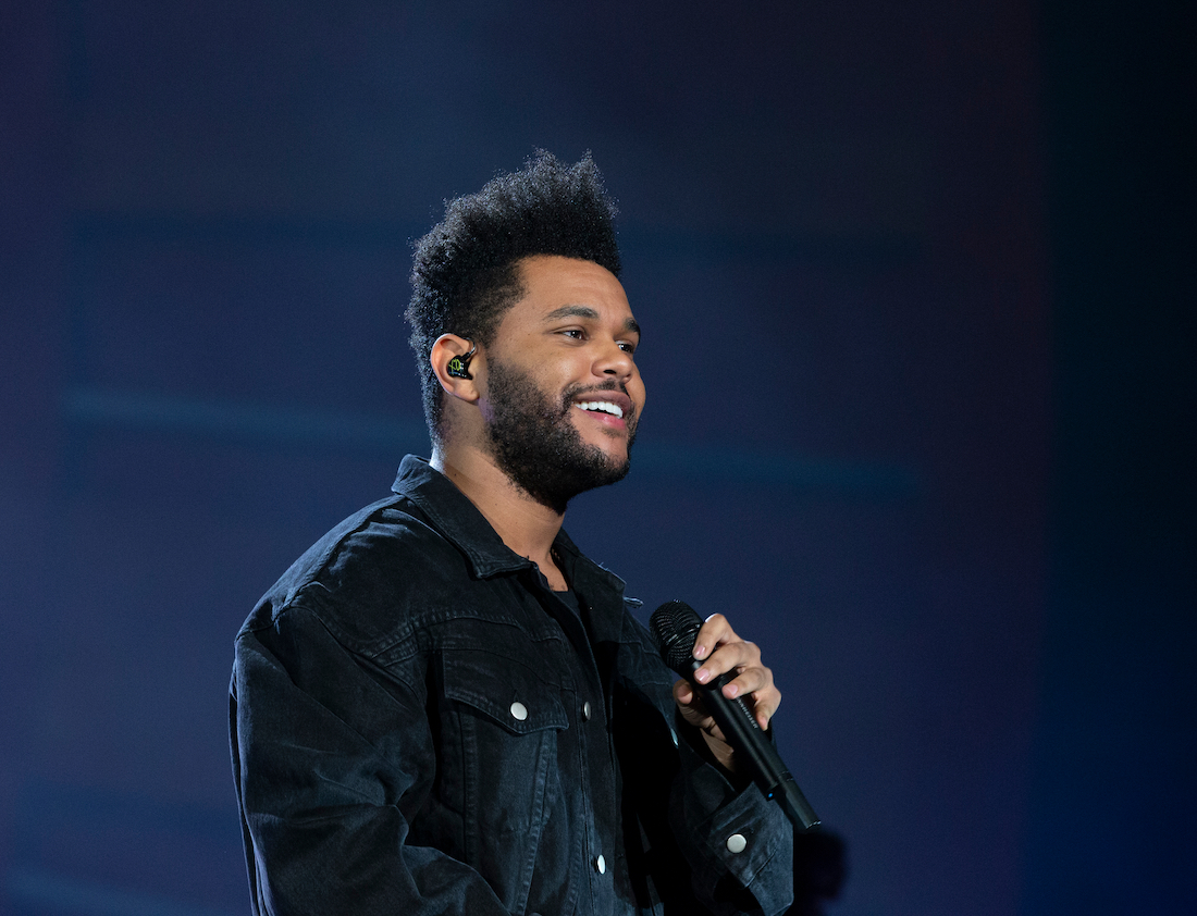 The Weeknd performing at Global Citizen Festival in 2018