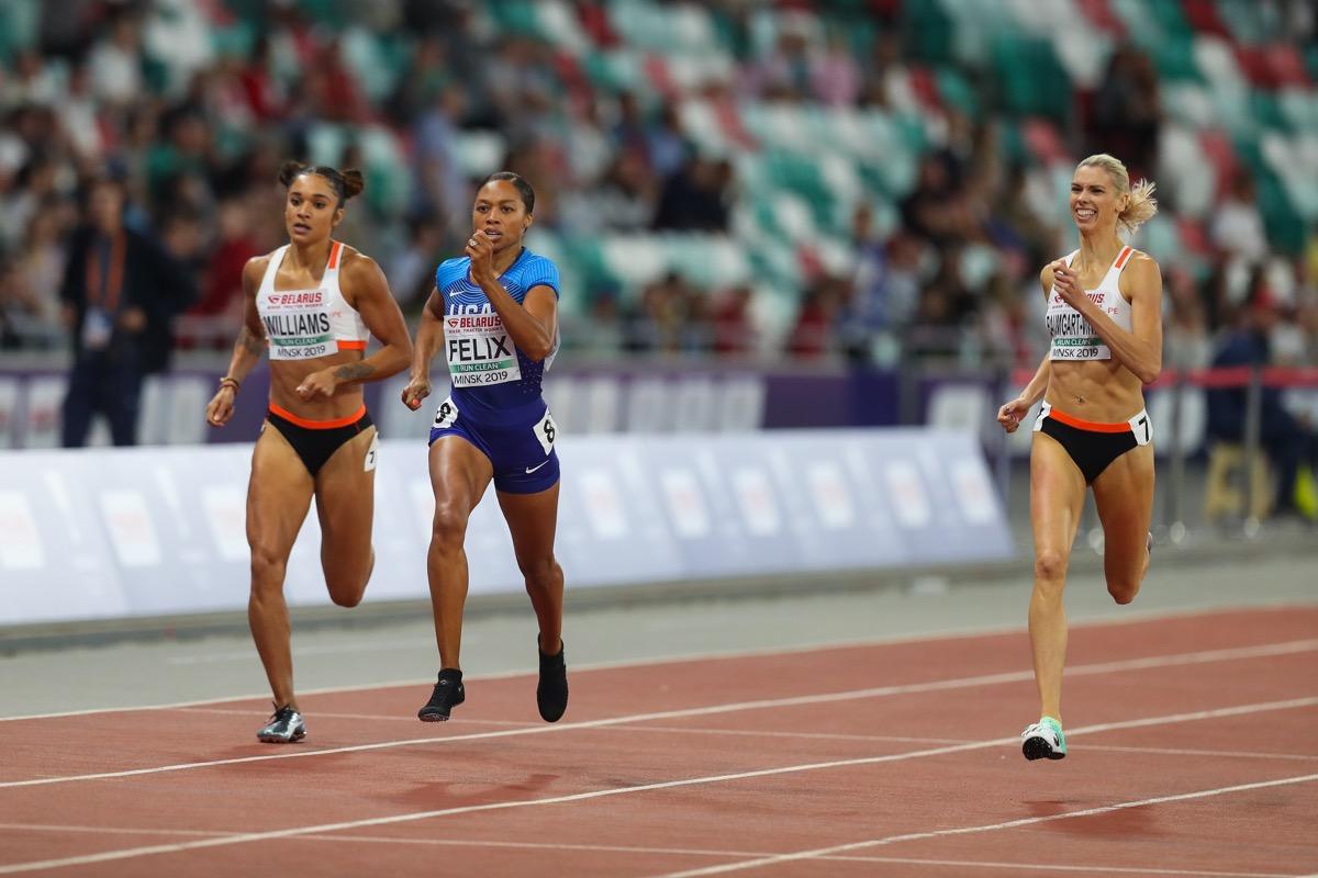 Minsk, Belarus - September 9, 2019 : Athletic match Europe v USA Minsk 2019. Famous American runner Allyson Felix(in the centre)