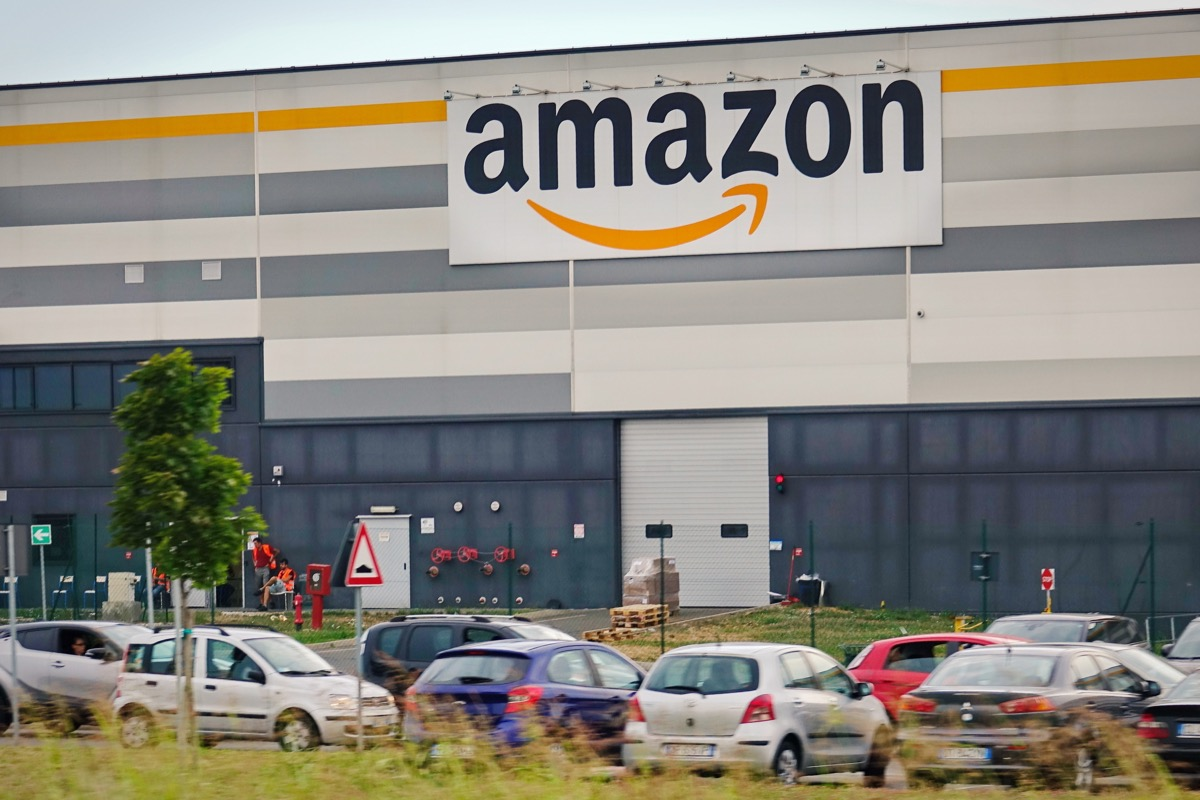Castel San Giovanni, Italy - July 24, 2017: External facade Amazon distribution center of Castel San Giovanni