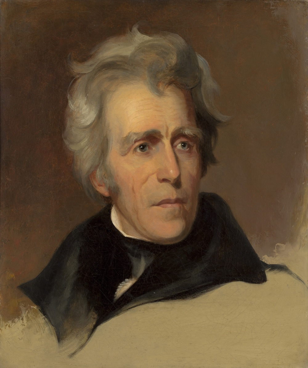 Andrew Jackson, by Thomas Sully, 1845, American painting, oil on canvas. This 1845 painting is based on a 1824 Thomas Sully a portrait of Andrew Jackson.