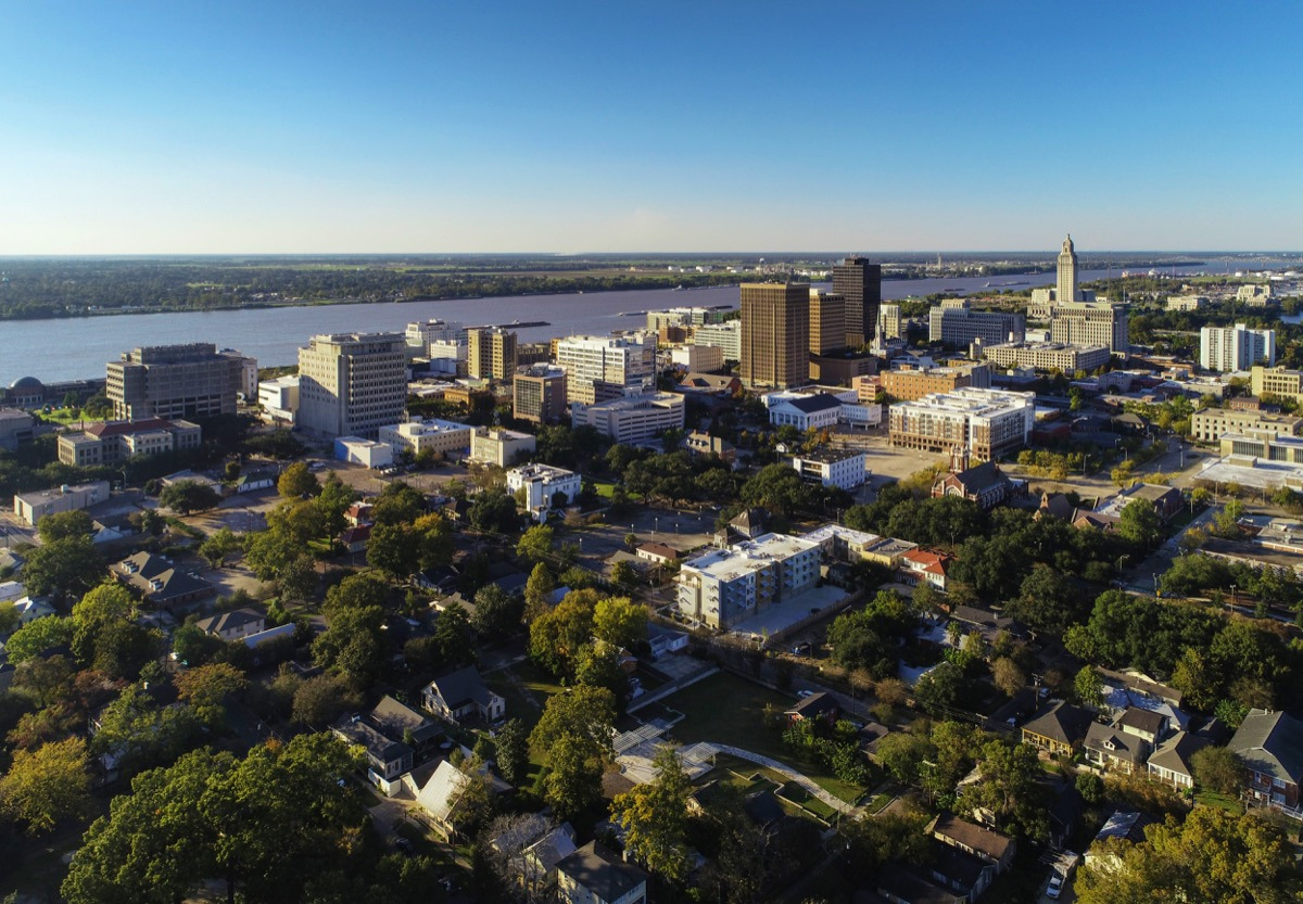 Aerial of Downtown Baton Rouge, including a skyline view of Downtown and the Mississippi River.