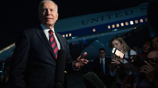 President Joe Biden speaking to reporters before boarding Air Force One