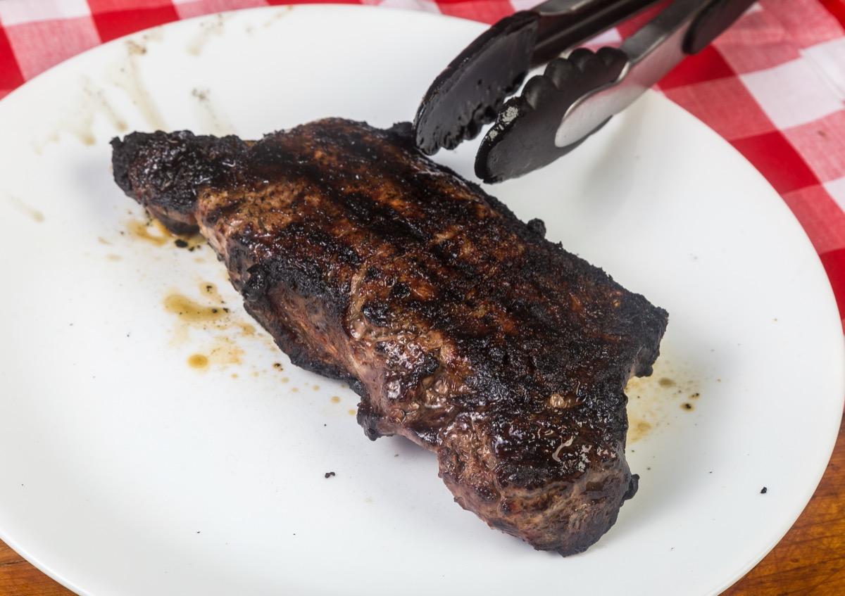 blackened steak on plate