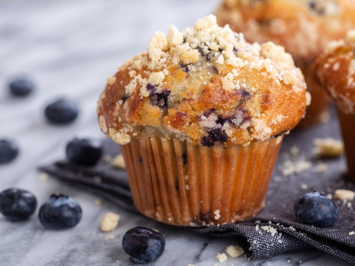 blueberry muffins on napkin