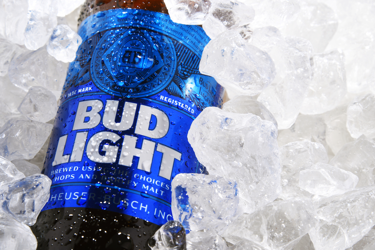 Bottle of Bud Light beer, an American light beer, produced by Anheuser-Busch, introduced in 1982.