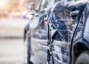 Damage on side door after car crash