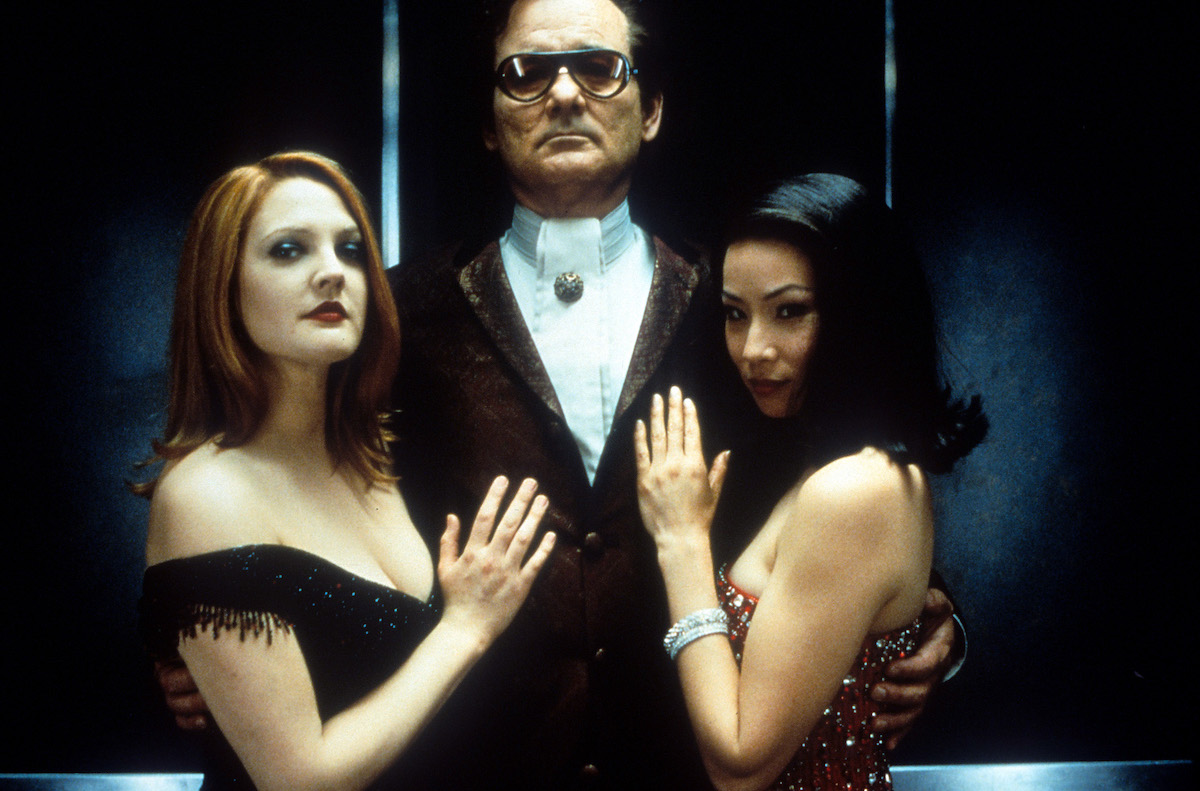"""Drew Barrymore, Bill Murray, and Lucy Liu in a publicity photo for """"Charlie's Angels"""""""