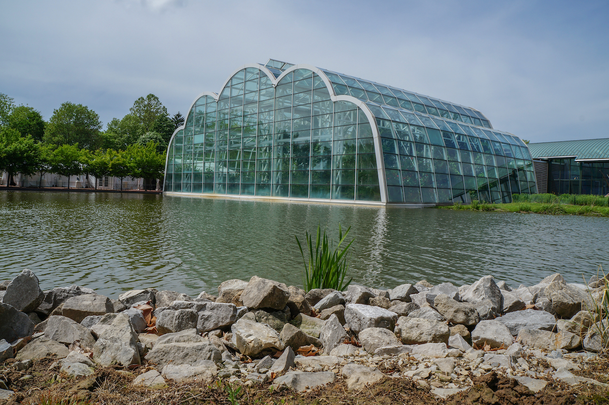 Mother's day at the Butterfly House as viewed across the lake in Chesterfield, Missouri.