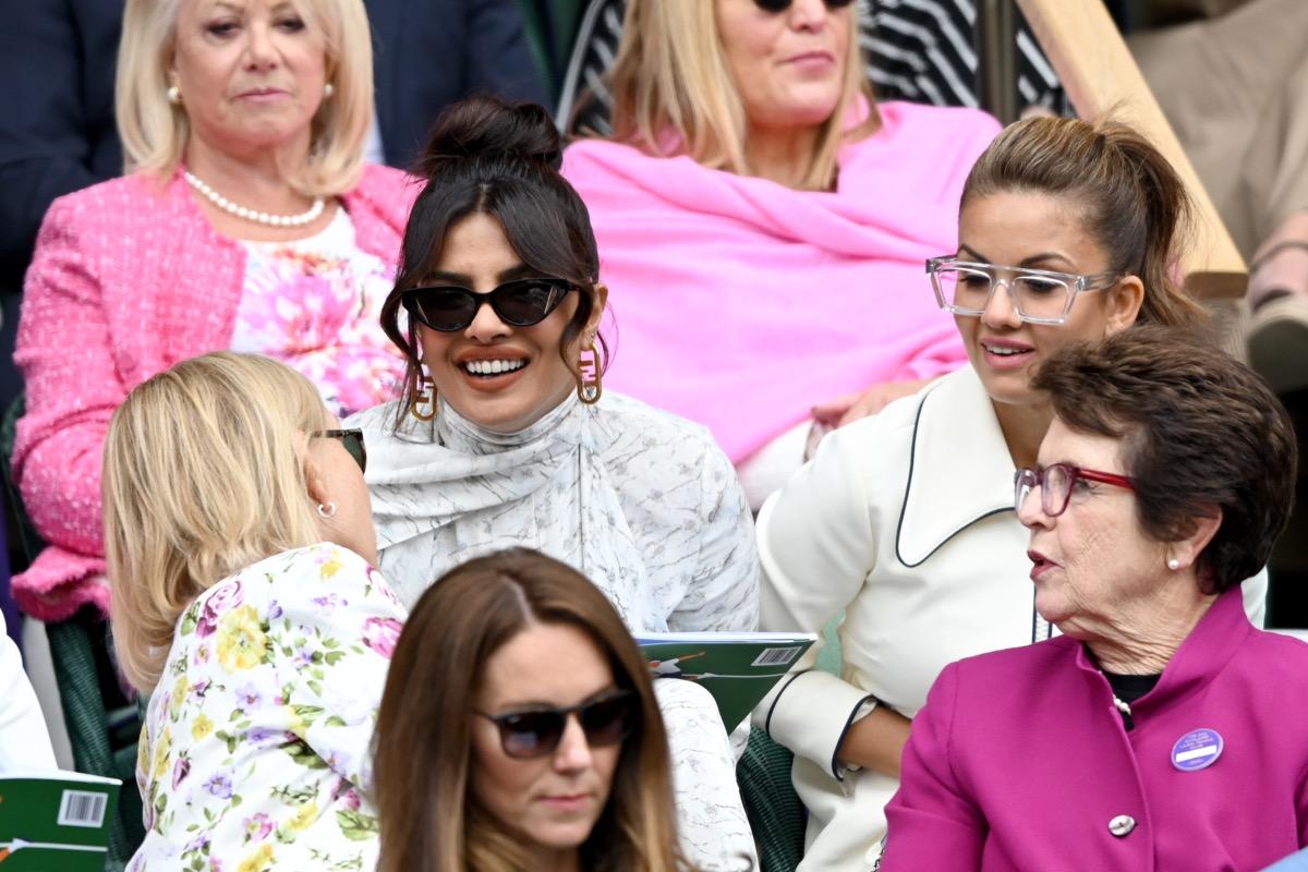 Priyanka Chopra, Prince William, and Duchess Kate at Wimbledon match
