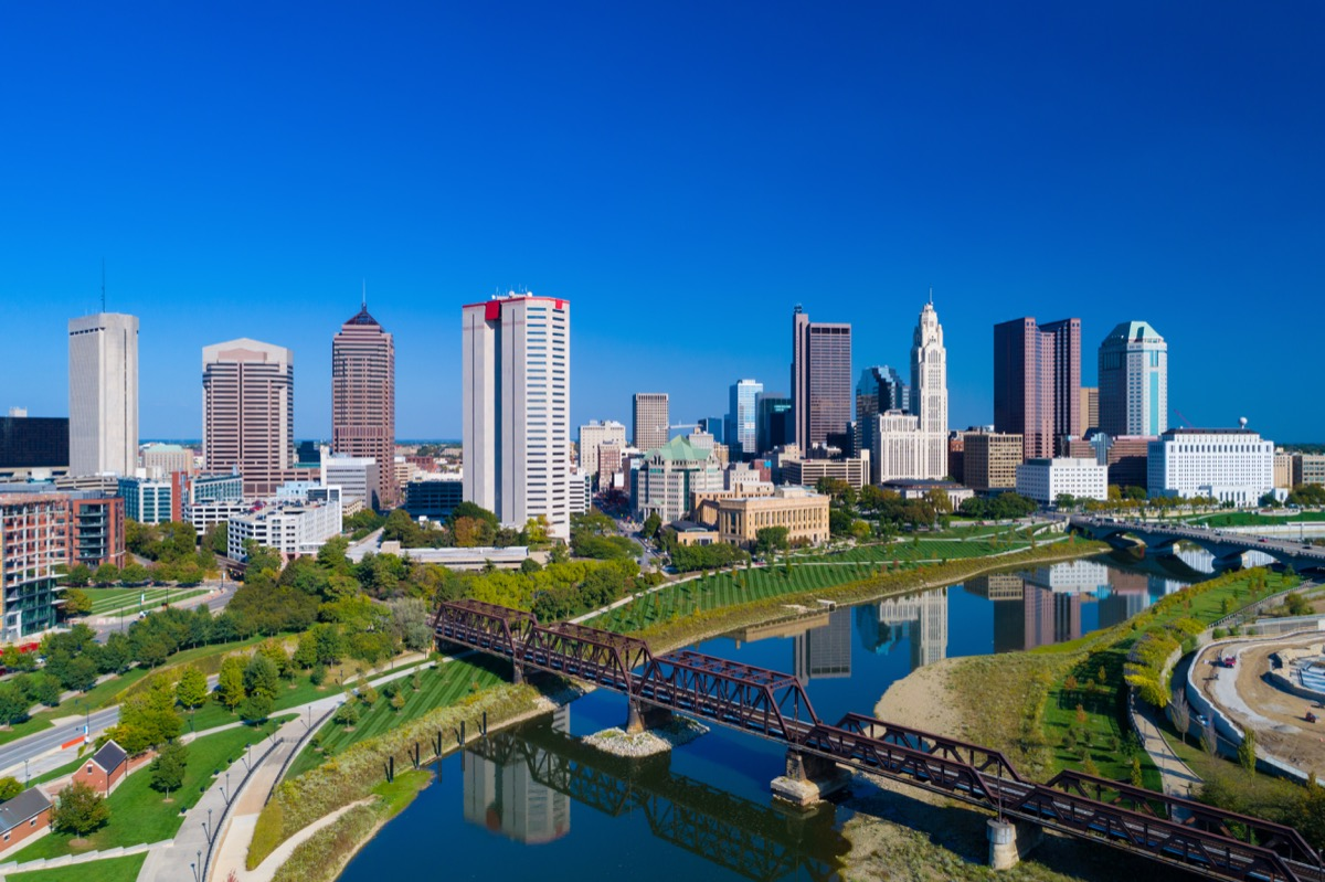 Downtown Columbus skyline aerial with Alexander Park, Battelle Riverfront Park, Genoa Park, and Scioto River in the foregruond.