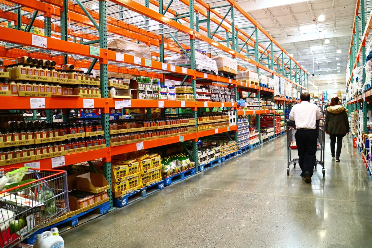 San Leandro, CA/USA - March 17, 2020: Aisle full of spices at Costco Wholesale.