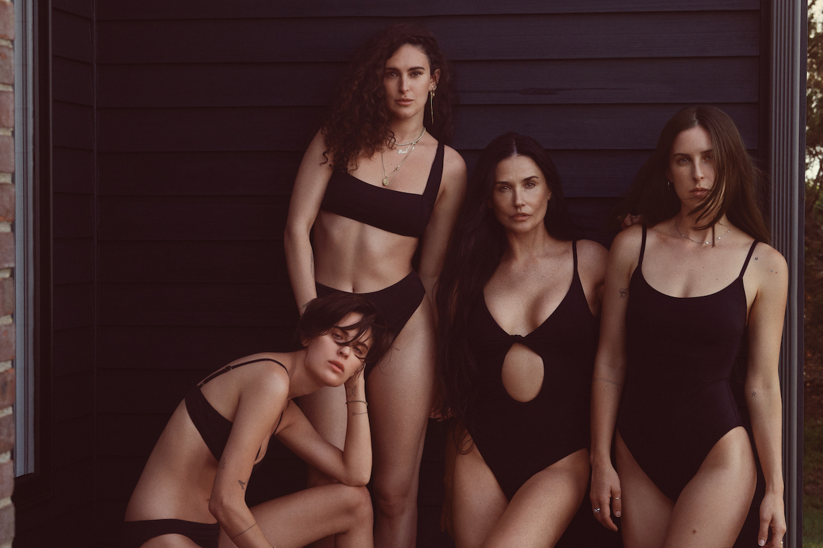 Demi Moore and daughters Scout, Rumer, and Tallulah Willis model black Andie swimsuits