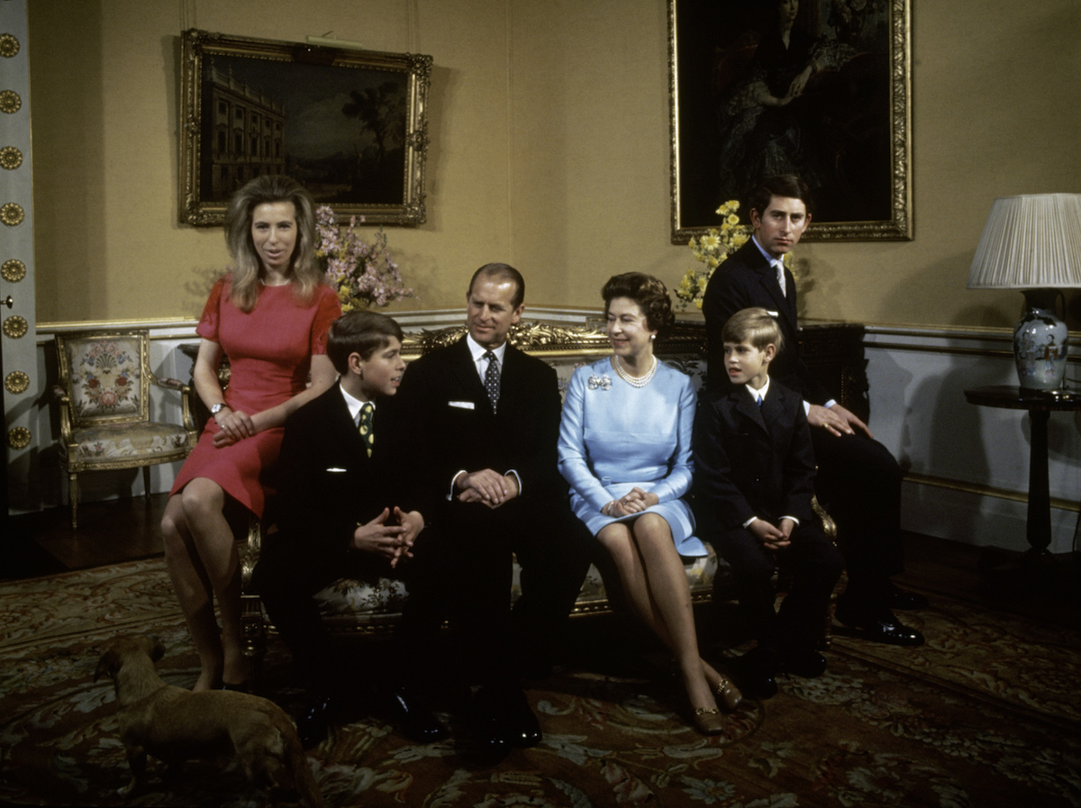 The royal family at Buckingham Palace, London, 1972. Left to right: Princess Anne, Prince Andrew, Prince Philip, Queen Elizabeth, Prince Edward and Prince Charles.