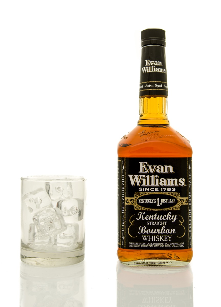 Evan Williams next to a glass of ice
