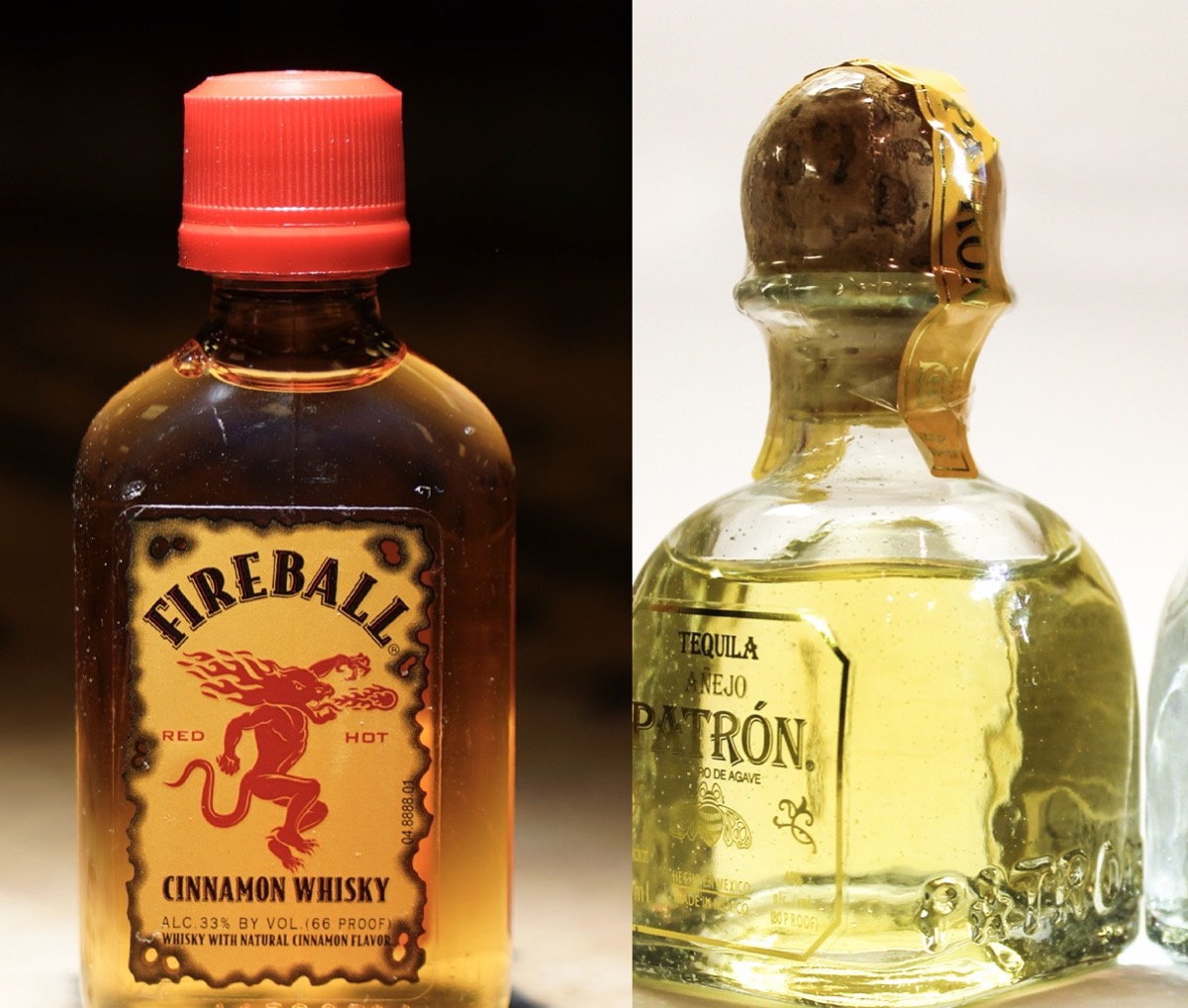 Mini bottle of fireball and a bottle of Patron