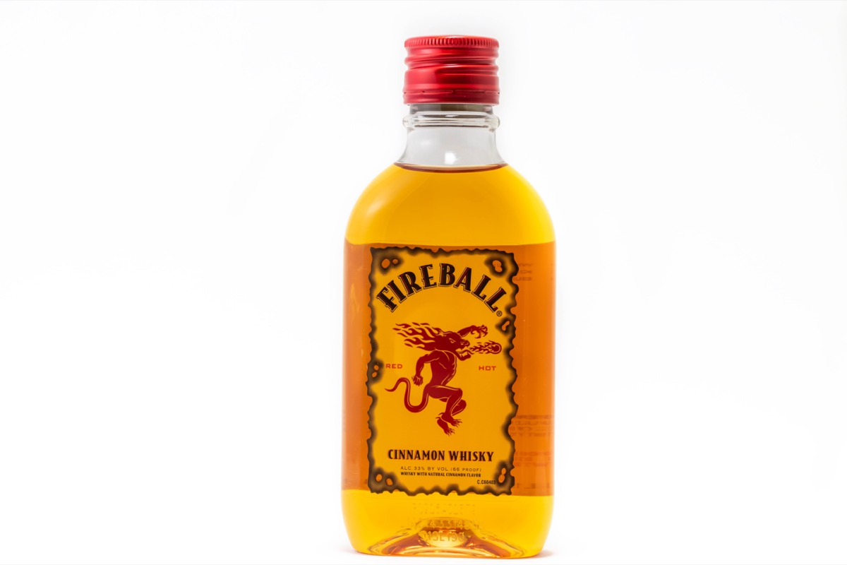 Bottle of fireball in front of a white background