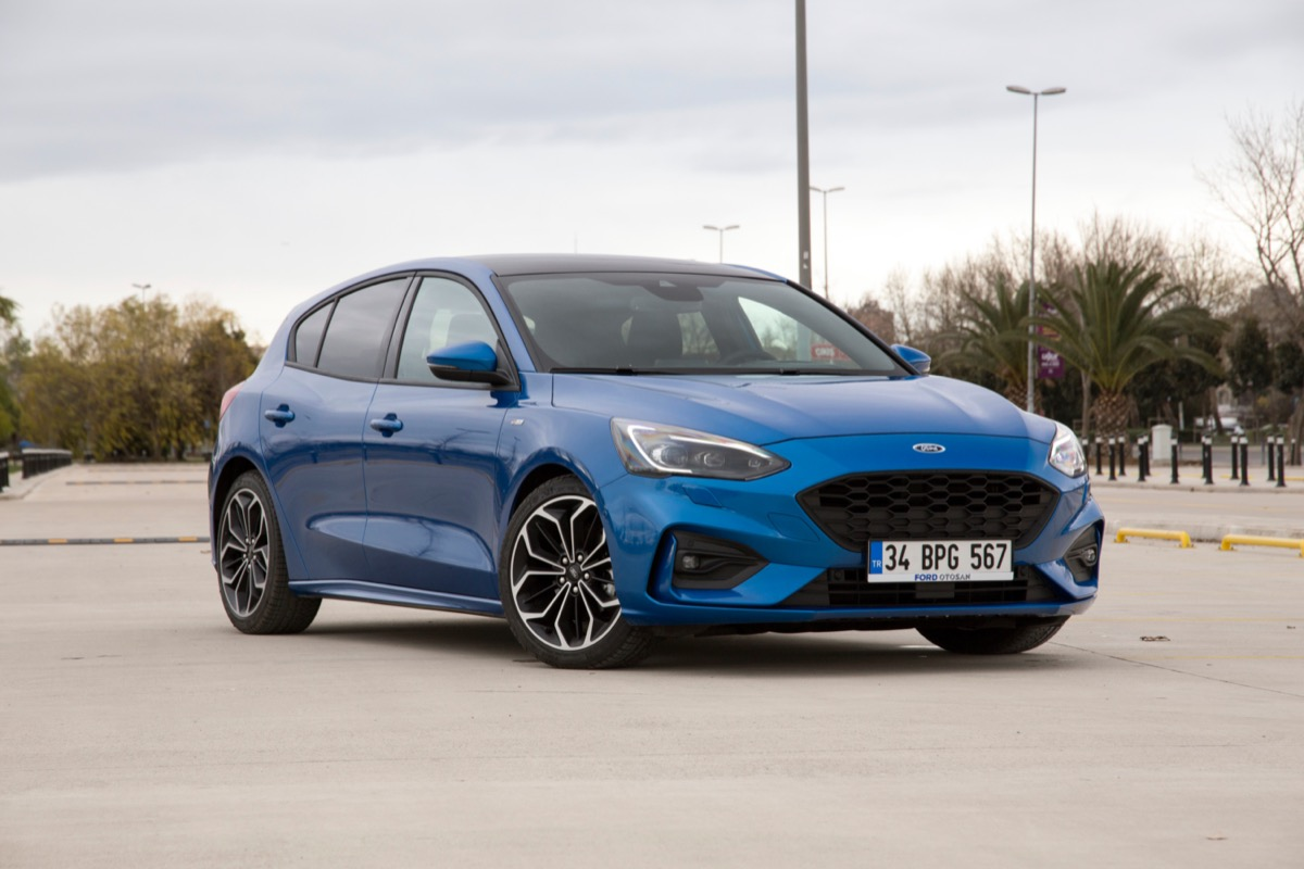 a Blue Ford Focus outside