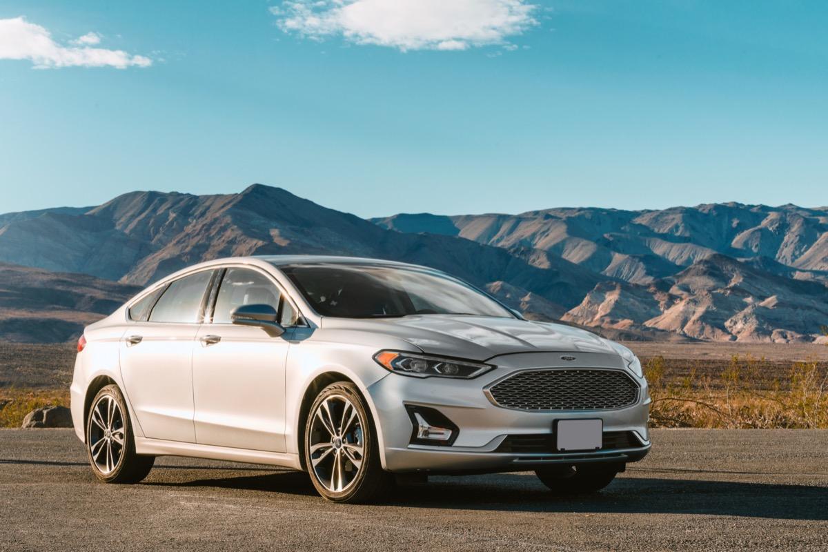A Silver Ford Fusion