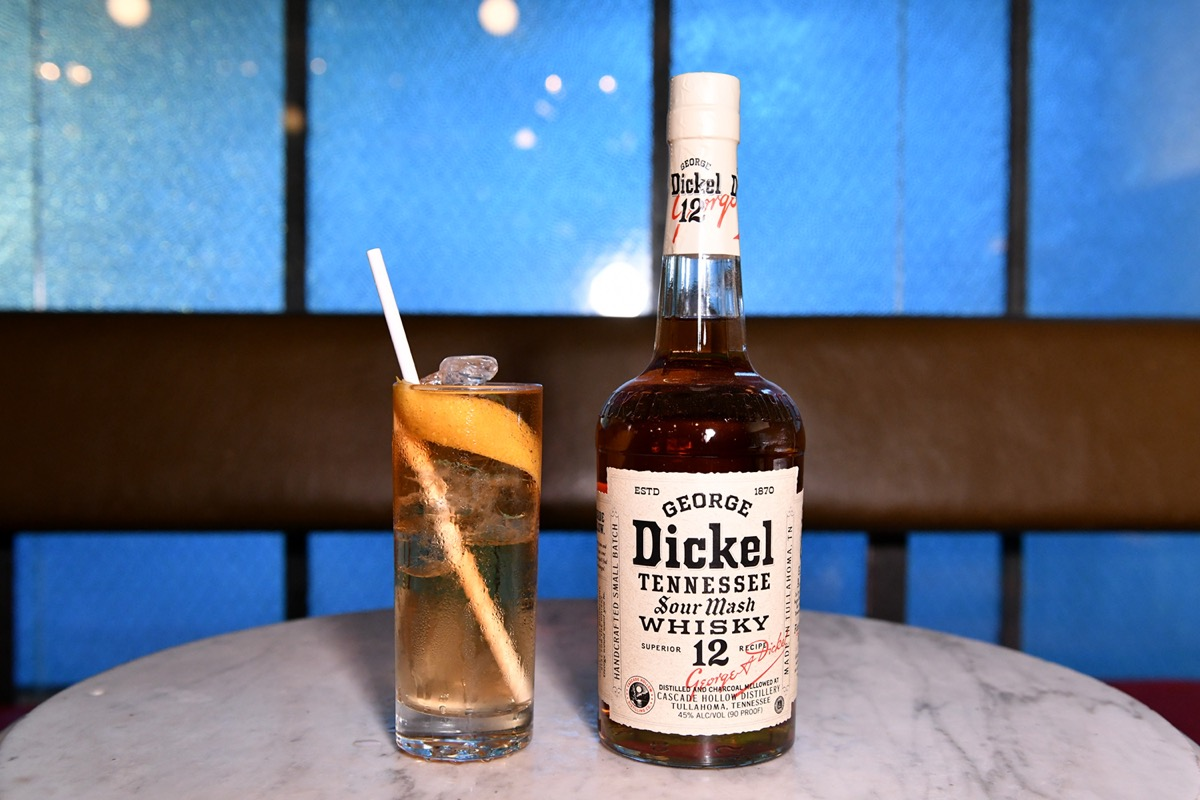 A bottle of George Dickel and glass