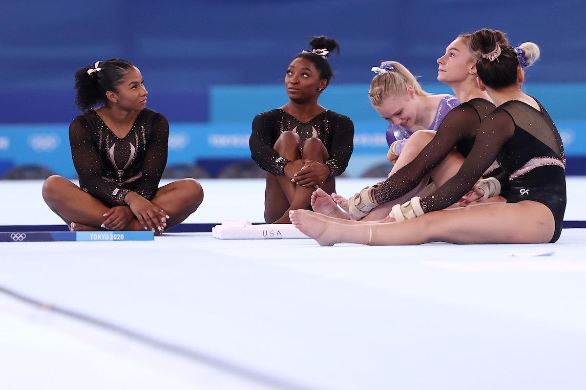 The U.S. women's gymnastics team during podium training at the 2021 Tokyo Olympics