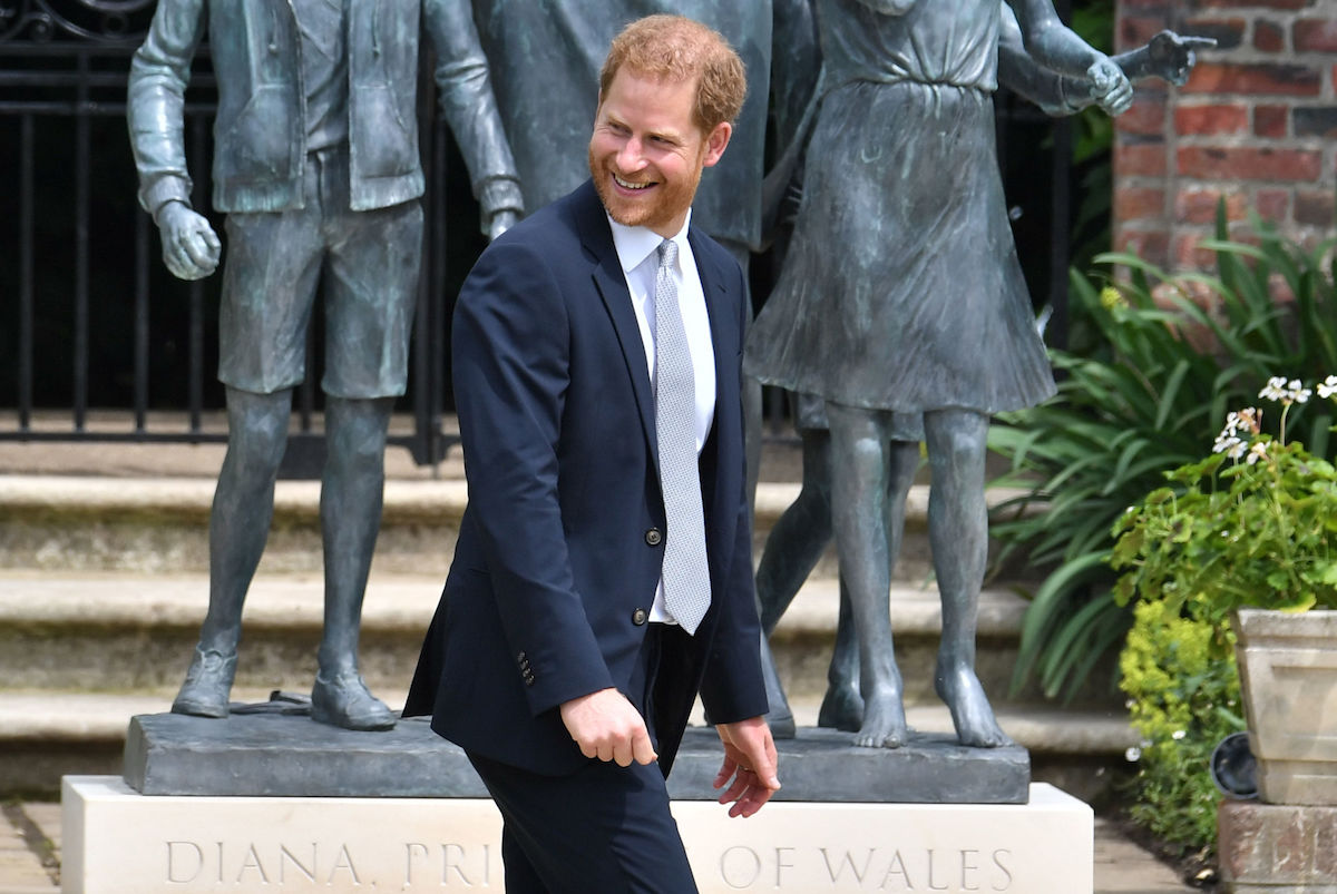 Prince Harry, Duke of Sussex after unveiling a statue of their mother Diana, Princess of Wales, in the Sunken Garden at Kensington Palace, on what would have been her 60th birthday on July 1, 2021 in London, England
