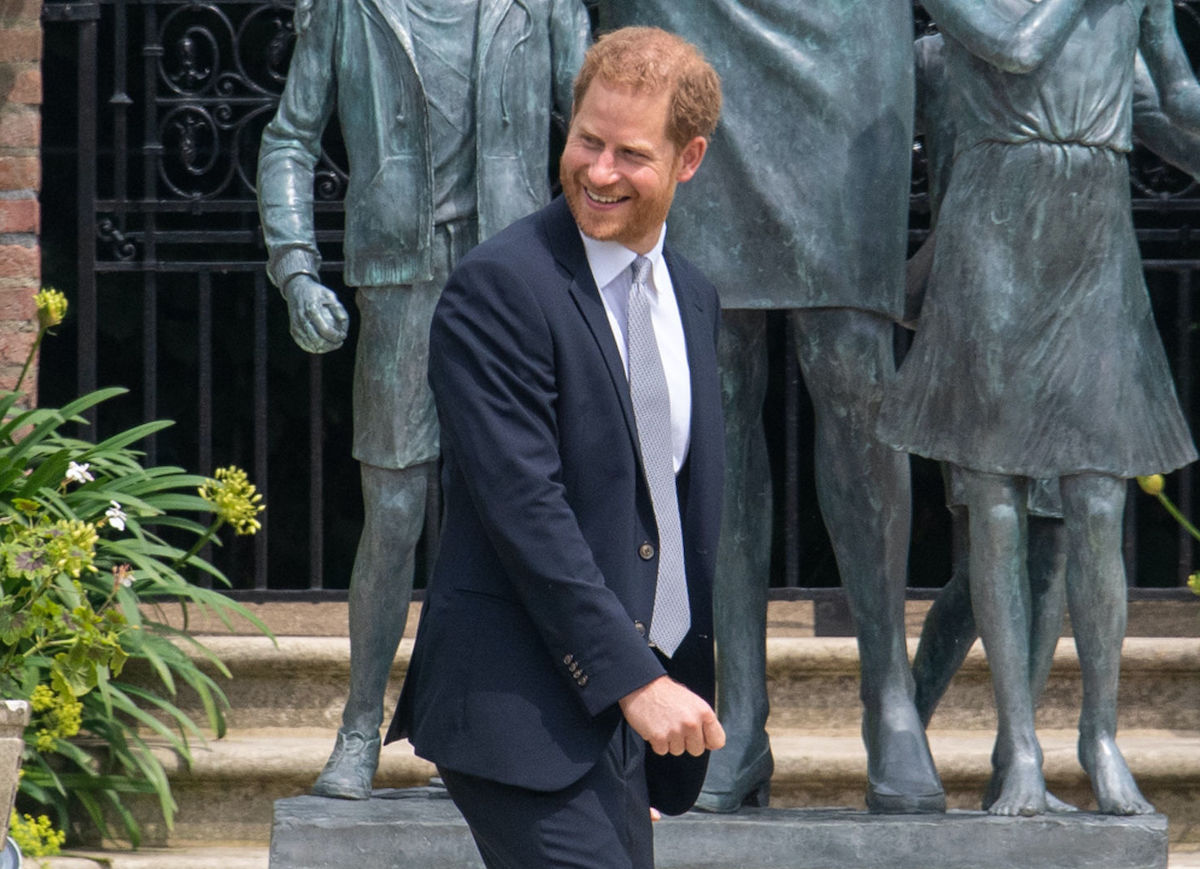 Prince Harry, Duke of Sussex after unveiling a statue of his mother Diana, Princess of Wales, in the Sunken Garden at Kensington Palace