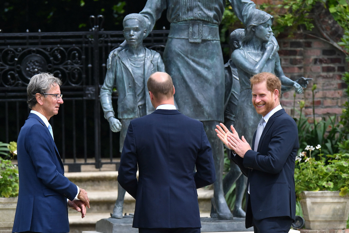 Sculptor Ian Rank-Broadley, the Duke of Cambridge and the Duke of Sussex after the unveiling of a statue they commissioned of their mother Diana, Princess of Wales, in the Sunken Garden at Kensington Palace, London, on what would have been her 60th birthday.