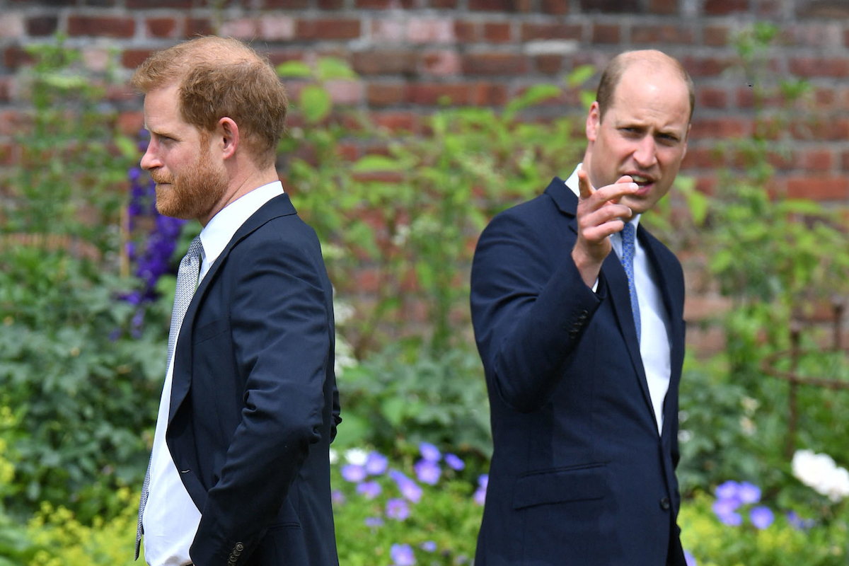 Prince Harry, Duke of Sussex (L) and Britain's Prince William, Duke of Cambridge attend the unveiling of a statue of their mother, Princess Diana at The Sunken Garden in Kensington Palace, London on July 1, 2021, which would have been her 60th birthday