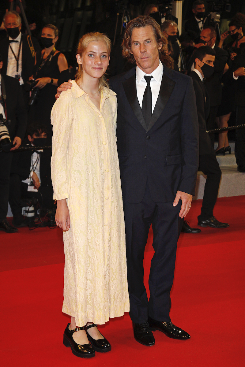 Danny Moder and daughter Hazel Moder arrive at the premiere of 'Flag Day' during the 74th Cannes Film Festival held at the Palais des Festivals in Cannes, France.