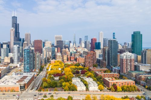 Aerial View of Chicago Cityscape in Autumn