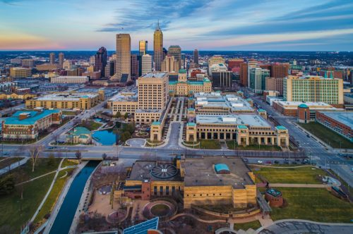 Aerial View of Downtown Indianapolis Indiana State Capitol at Sunset