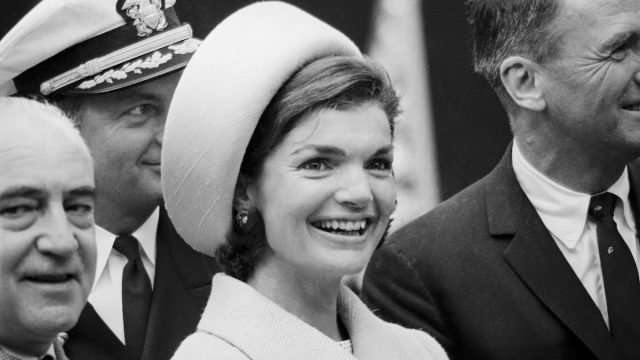 Jacqueline Kennedy at the launching of the USS Lafayette submarine in 1962