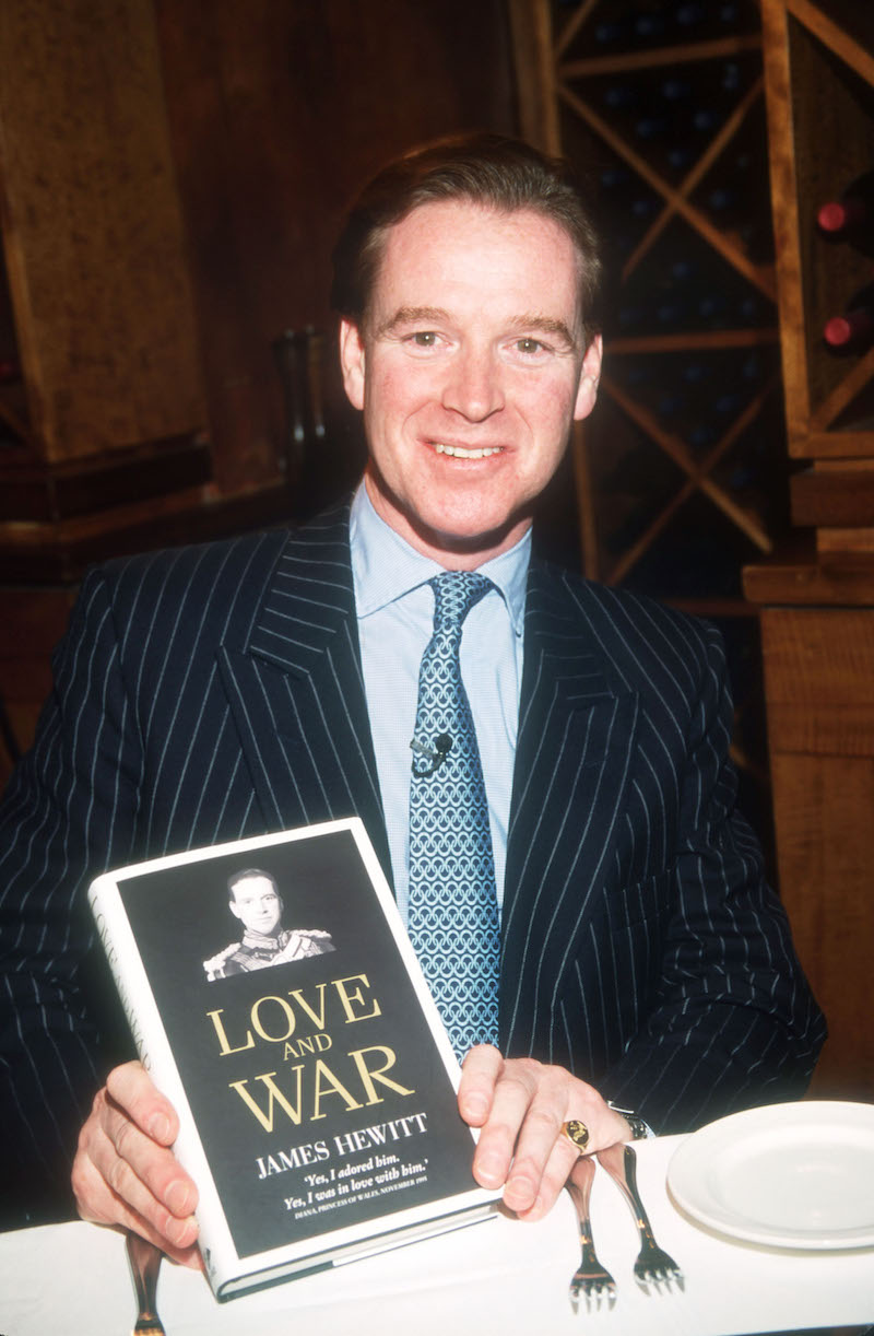 """James Hewitt presents his book """"Love and War"""" during an interview with Daphne Barak October 25, 1999 in New York City."""